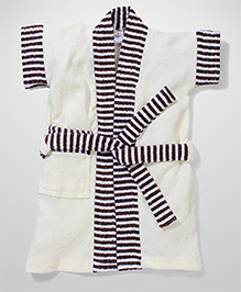 Babyhug Half Sleeves Bathrobe Stripes Print - White