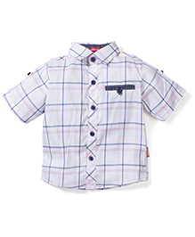Kidsplanet Checkered Shirt - White & Purple