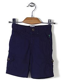 Palm Tree Solid Shorts - Dark Navy