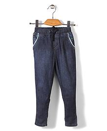 Palm Tree Full Length Elasticated Waist Jeans - Blue