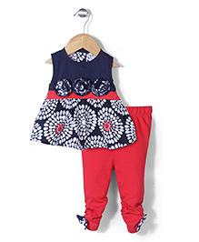 Wonderchild Floral Print Tunic & Leggings Set - Blue