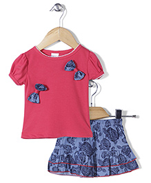 Happy Life Top & Skirt With Rose Print - Pink & Blue