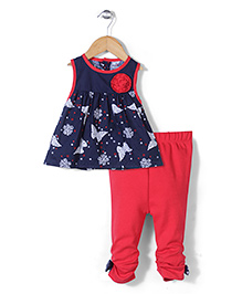 Wonderchild Floral & Butterfly Print Tunic & Leggings Set - Red & Blue
