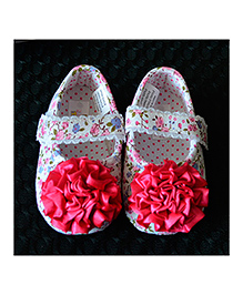 Little Hip Boutique Satin Flower Walkers - Hot Pink