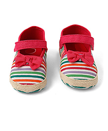 Little Hip Boutique Bow & Stripe Walkers  - Pink