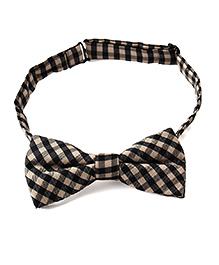 Little Hip Boutique Bold Check Bow Tie  - Black & Beige