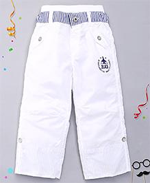 Kidsplanet Solid Pattern Pant - White & Blue