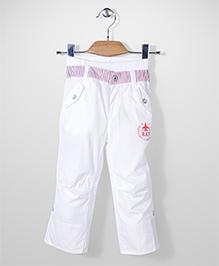 Kidsplanet Solid Pattern Pant - White & Purple