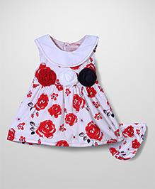 Wonderchild Flower Print Frock & Bloomer Set - Red & White