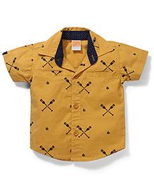 Little Kangaroos Half Sleeves Printed Shirt - Yellow