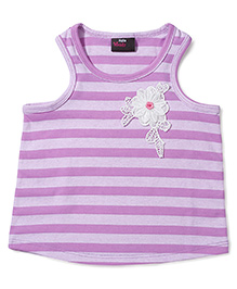 Hallo Heidi Top With Flower Embroidery Medal & Big Strip Print - Purple