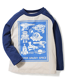 Hallo Heidi Outer Galaxy Space Print T-Shirt - Blue & Cream