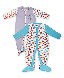 Kidsmode Organic Cotton Footed Sleepsuit Pack of 2 - Blue Purple