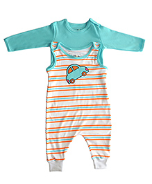 Kidsmode Organic Cotton Romper With T-Shirt Car Embroidery - Sea Green White