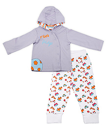 Kidsmode Organic Cotton Hooded T-Shirt And Leggings Football Print - Multicolour
