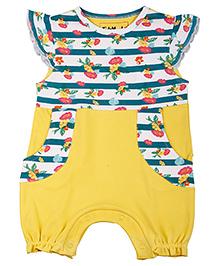 Kidsmode Organic Cotton Romper Floral Print - Yellow