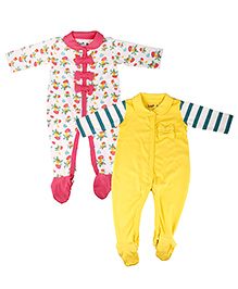 Kidsmode Organic Cotton Footed  Sleepsuit Bow Appliques Pack of 2 - Yellow White