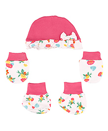 Kidsmode Organic Cotton Cap Booties And Mittens Set - White Pink