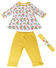 Kidsmode Organic Cotton Top And Leggings With Headband - White Yellow
