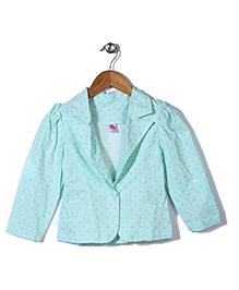 De Berry Polka Dot Print Jacket - Aqua Blue