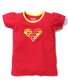 Tantra Contrast Neckline Top Heart Print - Red