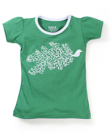 Tantra Contrast Neckline Free Bird Print Top - Green