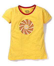 Tantra Contrast Neckline Circular Heart Print Top - Yellow