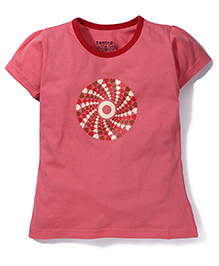 Tantra Contrast Neckline Circular Heart Print Top - Pink