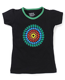 Tantra Contrast Neckline Circular Hand Print Top - Black