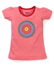 Tantra Contrast Neckline Circular Hand Print Top - Pink