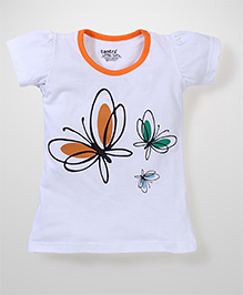 Tantra Contrast Neckline Butterfly Print Top - White
