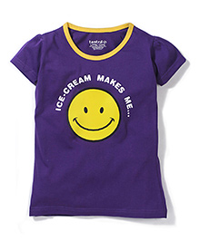 Tantra Contrast Neckline Top Smiley Print - Dark Violet