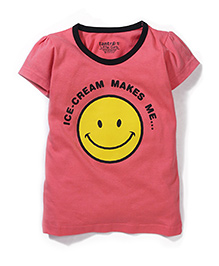 Tantra Contrast Neckline Top Smiley Print - Light Pink