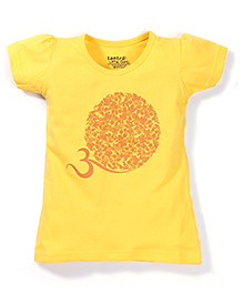 Tantra Short Sleeves Circular Floral Print Top - Yellow