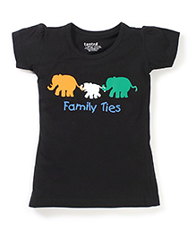 Tantra Short Sleeves Family Ties Print Top - Black