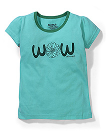 Tantra Contrast Neckline Top Wow Print - Sea Green