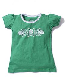 Tantra Contrast Neckline Top Floral Print - Green