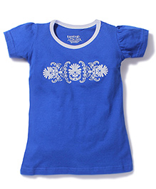 Tantra Contrast Neckline Top Floral Print - Royal Blue