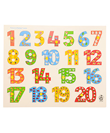 Skillofun Wooden Picture On Number Tray with Knobs 1 to 20 3 Years+, 38 x 30 x 0.8 cm , A special wooden gift for your kids in toys.