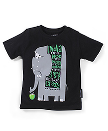 Tantra Half Sleeves T-Shirt Elephant Print - Black