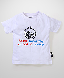 Tantra Short Sleeves Naughty Crime Print T-Shirt - White
