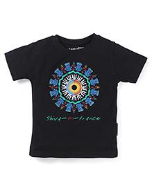 Tantra Half Sleeves Shiv On Trance Print T-Shirt - Black