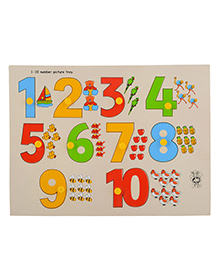 Skillofun Wooden Number with Picture Tray 1 to 10 3 Years+, 22 x 30 x 0.8 cm, A fun way to learn number counting from 1-10