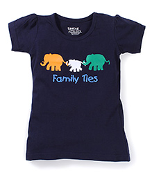 Tantra Short Sleeves Family Ties Print Top - Navy Blue