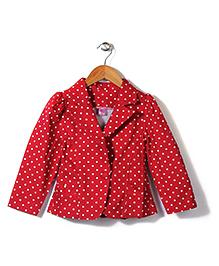 De Berry Polka Dot Print Jacket - Maroon