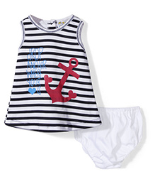 Super Baby Anchor Print Frock And Bloomer Set - Black & White