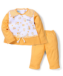 Super Baby Bunny Print Night Suit - Orange & White