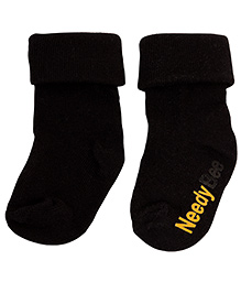 NeedyBee Comfort Socks With Fold - Black
