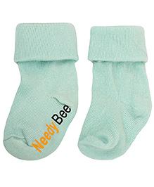 NeedyBee Comfort Socks With Fold - Light Blue