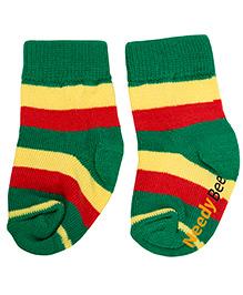 NeedyBee Striped Socks With Fold - Green & Yellow